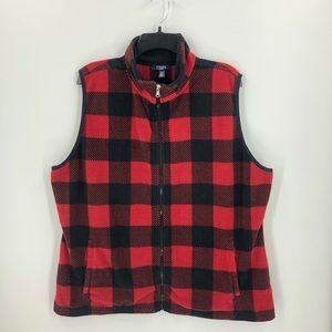 Chaps Red & Black Buffalo Check Fleece Vest 1X